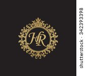 hr initial luxury ornament... | Shutterstock .eps vector #342393398