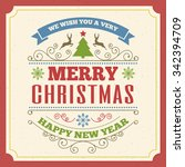 merry christmas greeting card...   Shutterstock .eps vector #342394709