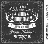 merry christmas card with frame ...   Shutterstock .eps vector #342394976