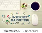 internet marketing concept with ... | Shutterstock . vector #342397184