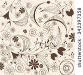 vector beautiful floral... | Shutterstock .eps vector #342397358