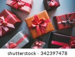 gift boxes top view. | Shutterstock . vector #342397478