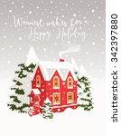 christmas landscape. | Shutterstock .eps vector #342397880