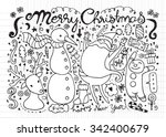 hand drawn christmas characters ... | Shutterstock .eps vector #342400679