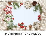 christmas decoration on wooden... | Shutterstock . vector #342402800