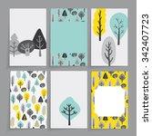 floral  card. modern tree... | Shutterstock .eps vector #342407723
