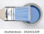 Top View Of Blue Paint Can Wit...