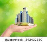 building city center on hand | Shutterstock . vector #342432980