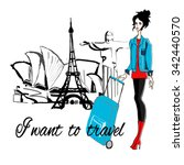fashion  girl with baggade... | Shutterstock .eps vector #342440570