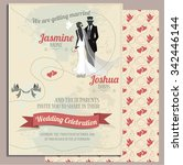 wedding invitation card... | Shutterstock .eps vector #342446144