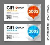 gift voucher template  set of... | Shutterstock .eps vector #342449603