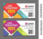 gift voucher template  set of... | Shutterstock .eps vector #342449654