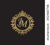 jm initial luxury ornament... | Shutterstock .eps vector #342460748