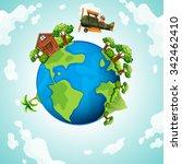 plane flying around the world... | Shutterstock .eps vector #342462410