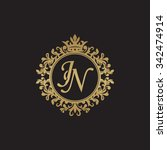 jn initial luxury ornament... | Shutterstock .eps vector #342474914