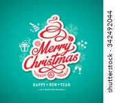 christmas sign design on green... | Shutterstock .eps vector #342492044