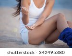 beautiful girl sitting on the... | Shutterstock . vector #342495380