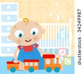 baby playing toy   Shutterstock .eps vector #34249987