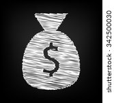 money bag icon with chalk...