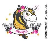 gold glitter unicorn isolated... | Shutterstock .eps vector #342502256