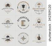 set of hipster vintage labels ... | Shutterstock .eps vector #342509120
