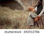 pretty little girl in brown hat ... | Shutterstock . vector #342512786