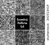 set of vector seamless black... | Shutterstock .eps vector #342513419