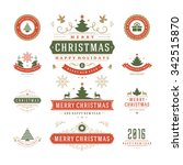 christmas labels and badges... | Shutterstock .eps vector #342515870