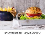 fresh homemade burger with...