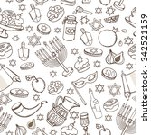 hanukkah symbols seamless... | Shutterstock .eps vector #342521159