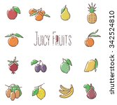 fruits linear icons | Shutterstock . vector #342524810