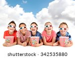 group of children with 3d... | Shutterstock . vector #342535880