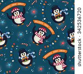 christmas seamless pattern with ... | Shutterstock .eps vector #342536720