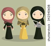 young muslim girls.muslim... | Shutterstock .eps vector #342540608