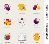children colorful vector icons... | Shutterstock .eps vector #342544358