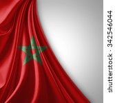 morocco flag of silk  with... | Shutterstock . vector #342546044