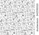seamless pattern with doodle...   Shutterstock .eps vector #342550310