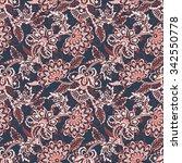 ethnic flowers seamless vector... | Shutterstock .eps vector #342550778