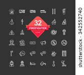 firefighter icons   line icons  ...   Shutterstock .eps vector #342552740