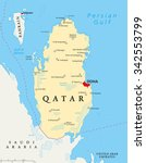 qatar political map with... | Shutterstock .eps vector #342553799