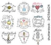handmade logo.hand made... | Shutterstock .eps vector #342566624