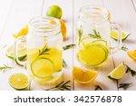 homemade lemonade with lime ...   Shutterstock . vector #342576878