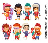 cute cartoon skiers  skaters... | Shutterstock .eps vector #342586094
