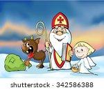 saint nicholas  devil and angel ... | Shutterstock .eps vector #342586388