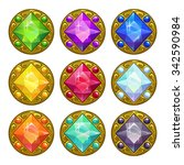 colorful round golden amulets...