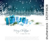 christmas greeting card with... | Shutterstock .eps vector #342593828
