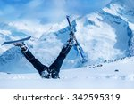 newbie skier stuck  in deep... | Shutterstock . vector #342595319