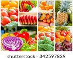 collage different fruits and... | Shutterstock . vector #342597839