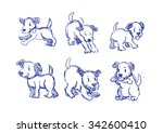 Stock vector dogs pose drawing a collection doodle rough sketch 342600410