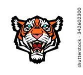tiger head. vector illustration ... | Shutterstock .eps vector #342602300